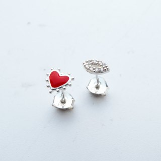 Bigman Taipa [exclusive selection] love × lip print zircon sterling silver earrings