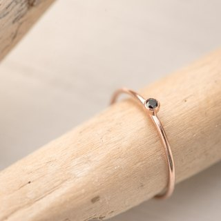 FINLAND black dainty ring in 14k rose gold filled and black Zircon stone