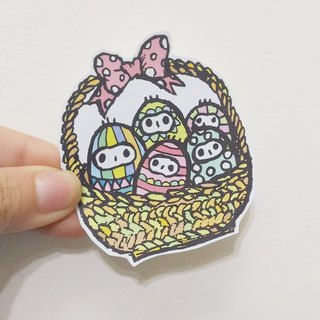 Easter egg basket illustration sticker