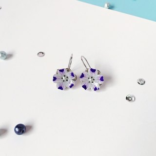 *Haku‧Neko*hand-painted butterfly flower purple dots of 925 sterling silver flower-shaped ear hook earrings ear acupuncture