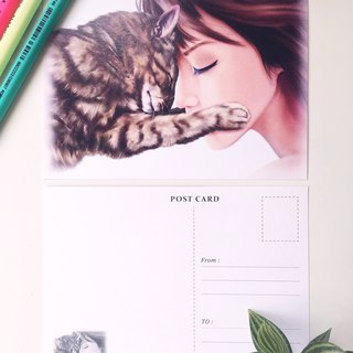 Animal illustration postcard [warm hug]