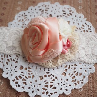 Girlish Handmade hair accessory with pink ribbon rose