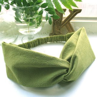 Cross hair band (elastic manual) - Slightly matcha green tea