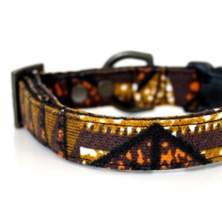 Canvas Aztec Dog Collar - brown, black, orange, mustard - Antique Brass