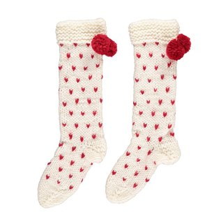 British Miss PomPom / extra-thick love pattern wool-blend hand-knit socks (cream bottom red love)