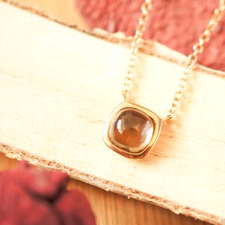 LITTLE CANDY - 6mm Cushion Cabochon Smoky Quartz 18K Rose Gold Plated Silver Necklace