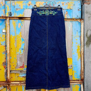 Turtle Gege - after high panties elegant tannins denim skirt vintage VINTAGE