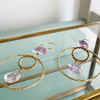 Amethyst with double circle earrings