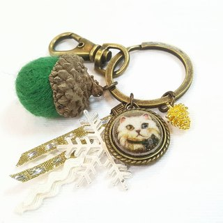 Paris * Le Bonheun. Happy forest. Cats. Wool felt acorn. Pine cone key ring strap. Christmas gift