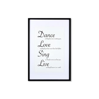 HomePlus Decorative Frame - Cursive Quote DanceLoveSingLive - Black 63x43cm Homedecor