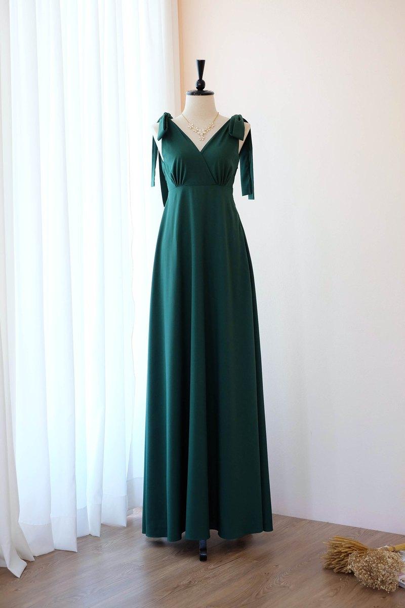 森林綠色禮服長款伴娘禮服舞會派對雞尾酒婚紗禮服