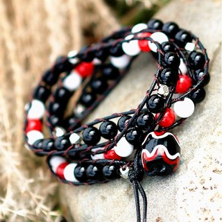 ◆ IF Series | If the series ◆ black and white red three braided bracelet