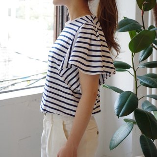 [Made in Japan] border frill sleeve tops navy × white