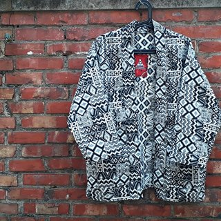 AMIN'S SHINY WORLD hand-made KIMONO black and white ethnic pattern blouse coat coat
