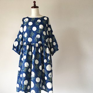 Mimosa Pattern Gather One Piece Double Gauze Navy