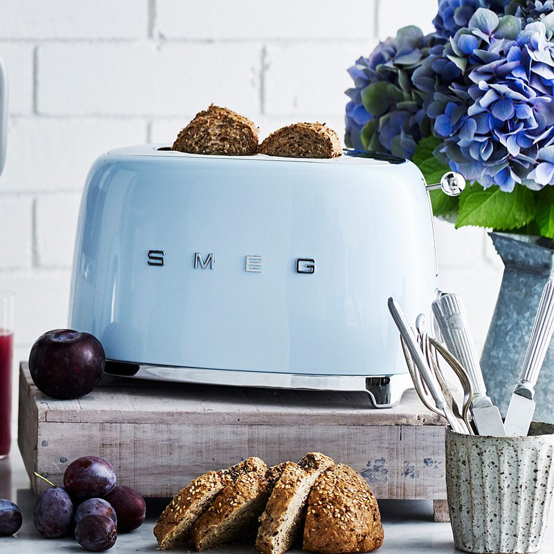 【SMEG】義大利復古美學 2片式烤麵包機-粉藍色