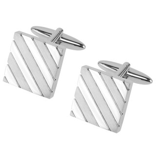 Shiny and Brush Silver Repp Stripe Square Cufflinks