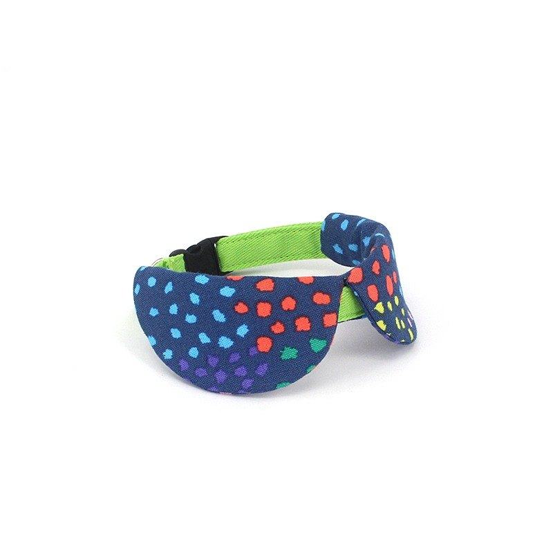 GOOOD Cat Collar | Dapper Round - Little Dotti | 100% Rainbow Dots & Blue Cotton Fabric | Safety Breakaway Buckle