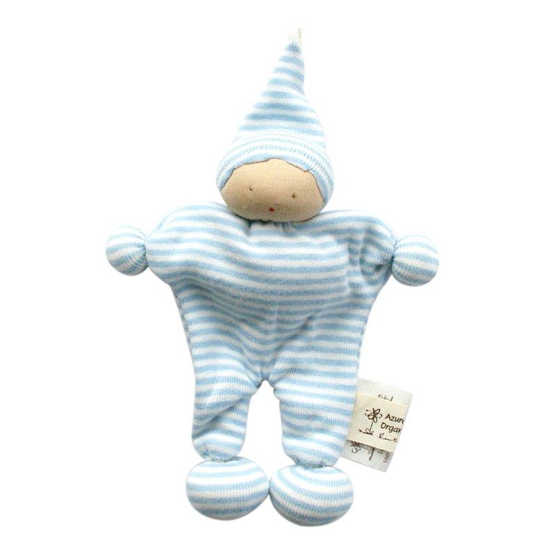 埃及製 有機棉安撫娃娃-粉藍條
