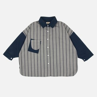 Comma dot punctuation print stitching shirt - stripe / blue stitching