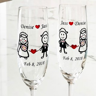 My Crystal Champagne Glasses - Western Wedding including engraved names & date