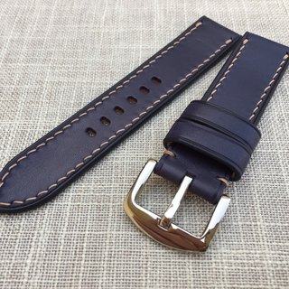 Tuscan Navy Blue Vegetable Tanned Leather Strap Hand Strap