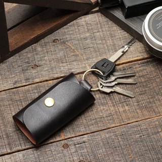 Minimal ochre black hand dyed yak leather handmade copper hardware ring buckle key case