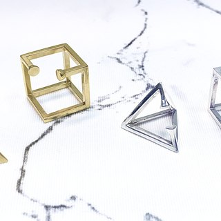 Ear Cuff - Sterling Silver Square Earrings