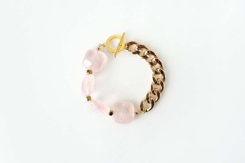 Rose Quartz Crystal Statement Bracelet, Pink and Gold Jewelry