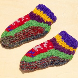 Limited Christmas gift a knitted pure wool warm socks / wool socks child / children wool socks / stockings bristles / Knitting wool socks / children's indoor socks - contrast color national totem