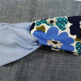 Blue large flower pattern light blue plain stitching double circle hair band