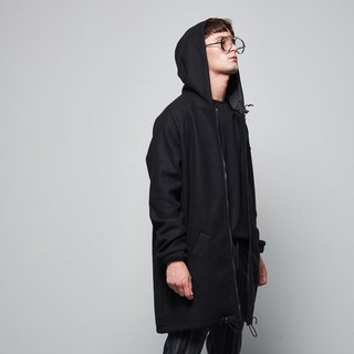 Stone @ s Hoodie Coat In Black / wild black zipper wool coat coat