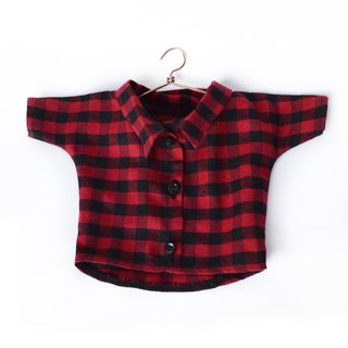 PK bears | Big bear plaid shirt (40cm Bear) red