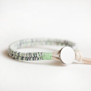 "Green Odense Qin Liang Mint Green Cotton Threaded Silver Knit Bracelet ""Small Chain Club"" Male and Female Neutral Model BTW034"