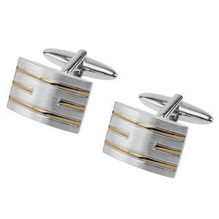 Brush Silver Curved with Gold Lines Cufflinks