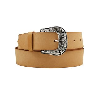 FULLGRAIN │ Italian vegetable tanned leather leather belt 4cm - bright silver carved flower drill deduction