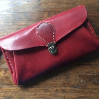 "Genuine leather * Japan made oil nail leather wallet ""series-envelope"" dark cherry (four card pockets)"