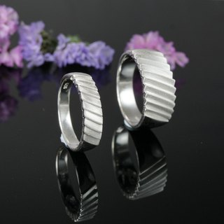 Accompanied - sand surface treated sterling silver ring couple ring