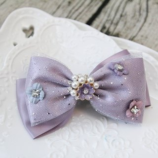 Sweet House Romantic Purple Flower Bowknot France Clamp Handmade