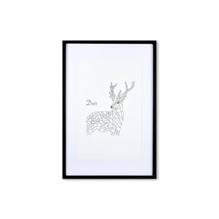 HomePlus Decorative Frame - Animal Geometric lines - DEER Black 63x43cm Homedecor