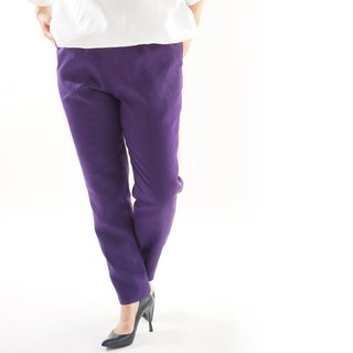 linen pants / bottoms / long length / tapered pants / elastic waist / bo1-42