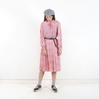 Vintage】 【egg plant Red Yang ripple printing vintage dress
