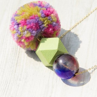 Mother's Day gift / Department of Forestry / French dissimilar material mosaic necklace clavicle short chain long chain - segment dyed wool ball + wooden + gradient geometric glass ball