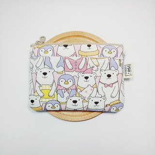[Polar Bear Family] Coin Purse Clutch Bag with Zipper Bag