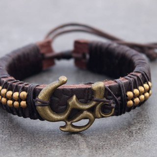 Leather Beaded Bracelets Men Unisex Charm Brass Om Symbol Adjustable Tibetan