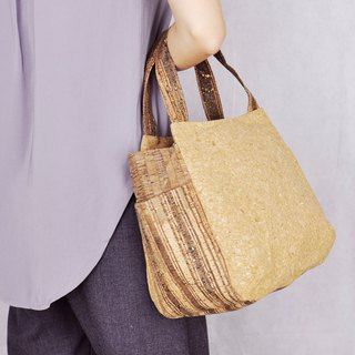 Paralife Cork Wood grain Handbag/Lunch Bag ( embroidery name)