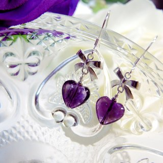 """Purple passion Purple Love"" elegance 925 sterling silver heart-shaped amethyst earrings ear hook bow"