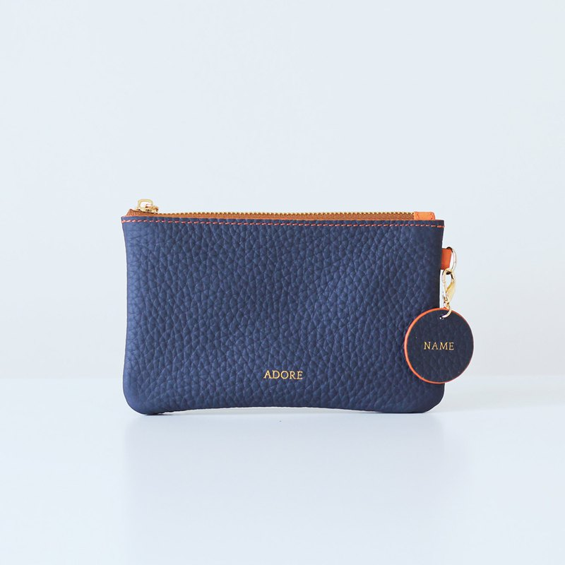 Handmade leather Coin Purse with Personalized Name Stamp - NAVY BLUE