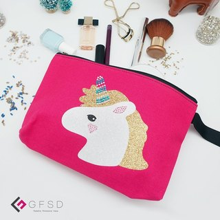 【GFSD】 Rhinestone Boutiques - Kid's Series - Qiao Peach 【Unicorn】 Handmade Multifunctional Cosmetic Bag