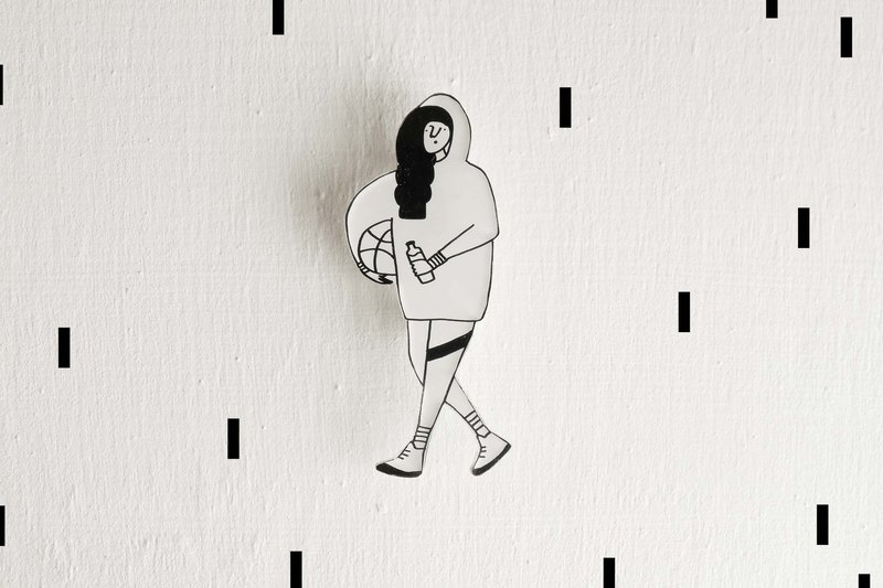 Miss Hairy Collection / Black and White Brooch / 029